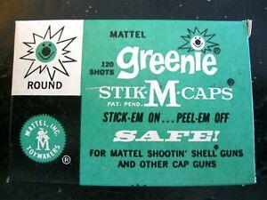 One 120 Shots Mattel Shootin' Shell Greenie Stik-M-Caps Box