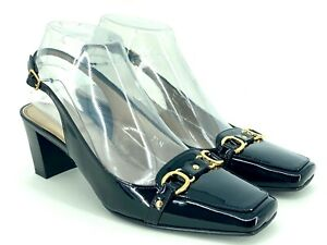 Talbots 7.5 Narrow Black Patent Leather Slingback Heels Gold Hardware Career