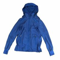 Lululemon Run: Bandit Jacket Baroque Blue Swift Removable Hood Water Repellant 6
