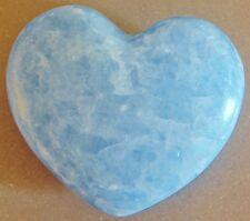 BLAUER CALCIT HERZ - Edelsteinherz Selten Waldorf Buddha Talisman Calcite Heart