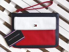 TOMMY HILFIGER Leather Zipped POUCH WALLET Notes Cards Passport 21 x 15cm NEW