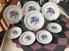 """(8) White Stoneware With Blue Snowflakes (4) 10 3/8""""DINNERPLATE & (4) 71/4""""Salad"""