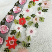 Lace Embroidery Flower Leaves Sew On Applique Trim Ribbon for DIY Wedding Dress