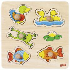 Holzspielzeug Steckpuzzle Afrikanische Tierkinder Spielzeug aus Holz von Goki Lernpuzzle