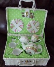 Delton Products Sprinkles Dollies Tea Set in Basket Large 2day Ship