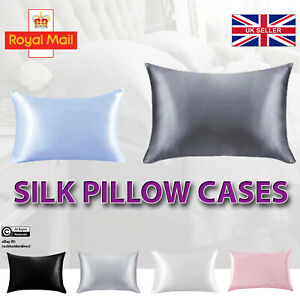 Silky Pillow Cases Pillowcase Pure Mulberry Soft Satin Cushion Cover Bed UK Home