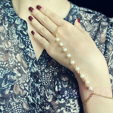 New Lady Fashion Bracelet Bangle Slave Chain Finger Ring Harness Gold Hand Pearl