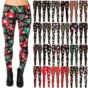 New Womens Christmas Xmas Santa Snowman Printed Stretchy Leggings Trouser Pants