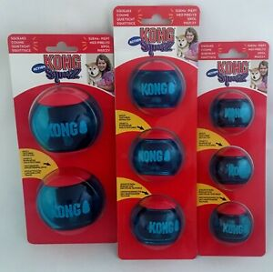 KONG Squeezz Action Red Ball Pet Dog Puppy Toy Small Medium Large S/M/L 2&3 Pack