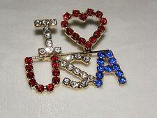 I LOVE USA PIN GLITTERING AUSTRIAN CRYSTAL JULY 4 LABOR DAY DEMOCRAT REPUBLICAN