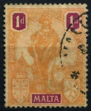 Malta 1922-6 SG#125w 1d Orange & Purple Wmk Crown To Right Used #D29711