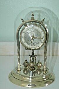 SCHATZ ANNIVERSARY CLOCK WITH GLASS DOME & KEY.