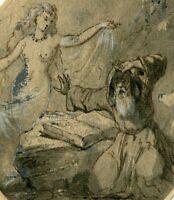 Dessin ancien 19eme, femme envoutante avec vieil homme