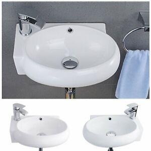 Modern Bathroom Cloakroom Wash Basin Wall Mounted Sink Ceramic Corner Bowl WC
