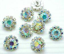 """8 Sparkling 1/2"""" AB Rainbow Glass Rhinestone Silver Shank Buttons N030"""