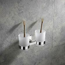 SUS 304 Toothbrush Tumbler Double Cups Holder Wall Mounted Chrome For Bathroom