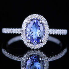 10K White Gold Oval Genuine Tanzanite Diamond Engagement Fine Ring Prong Setting