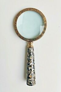 "10"" long Vintage style brass Handheld Magnifying Glass with Ceramic Handle decor"