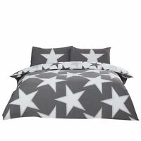 DISTRESSED STARS GREY COTTON BLEND REVERSIBLE DOUBLE 4 PIECE BEDDING SET