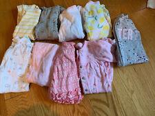 Lot Of 9 Baby Girl Sleepers 0-3