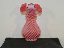 Fenton Cranberry Swirl Fluted Top Vase 6 inches tall (5604)
