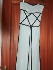Nicole Miller Collection Blue w Ribbons 100% Silk Strapless Formal Dress Gown 8