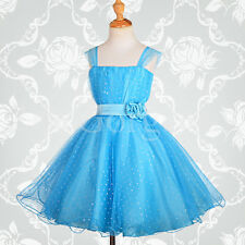 Sequined Blue Wedding Flower Girl Bridesmaid Party Occasion Dress Age 11-12y 031