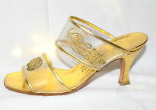 Bruno Magli Vintage Damen SCHUHE 37 GOLD PUMPS High Heels Sandalen LEDER 80s UK4