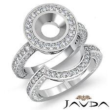 Diamond Engagement Ring Round Bridal Halo Setting Platinum 950 SemiMount 3Ct