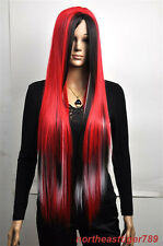 Hot Sell Long Multicolor Red Black White Straight Women's Lady Hair Wig Wigs+Cap