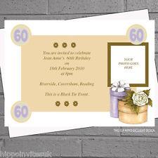 Donna 60th 70th 80th 90th Cappello scatola FOTO COMPLEANNO INVITI x 12 h0573