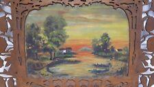 Antico Dipinto olio su tavola Sicilia traforo seghetto Etna paesaggio Taormina