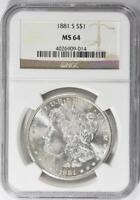 1881-S Morgan Silver Dollar - NGC MS-64 - Mint State 64
