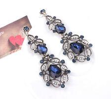 ANTHROPOLOGIE BEAUTIFUL GLASS BLUE STONES 3'' DROP DANGLE EARRINGS – NEW