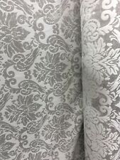 Light Gray Damask Chenille Upholstery Brocade Fabric (54 in.) Sold By The Yard
