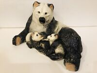 Vintage Panda Bear Family Chalkware Statuary Mom & 2 Cubs Figurine Mexico 13x10