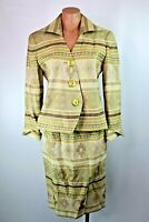 VTG 80s 90s christian dior womans skirt suit blazer aztec geometric sz 8
