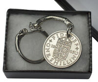 COIN KEYRING BRITISH ENGLISH SILVER SHILLING CHOICE OF YEAR 1934-1966 BIRTHDAY