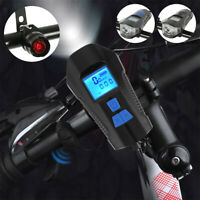 Bike Bicycle Cycle Lights Head + Tail Light Code Table + Horn Set Rechargeable