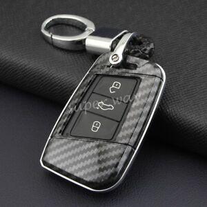 For VW Passat/Arteon/Jetta Carbon Fiber Hard Smart Key Ring Chain Shell Cover