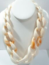 CONTEMPORARY WIDE CURB PLASTIC NECKLACE PEACH ORANGE SHRIMP MARBLED BIG LINK