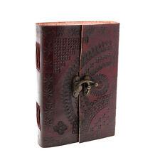 Indra fairer Handel handgefertigt Medium geprägtem Leder Tagebuch mit Verschluss