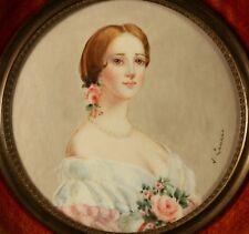 Alte Miniature Portrait Lupenmalerei Miniatur Malerei signiert