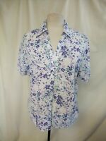 Ladies Blouse M&S UK 14 lilac/white crepe cotton, short sleeve, summer 7144