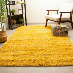 Super Area Rugs Contemporary Modern Plush Shag Solid Area Rug in Yellow
