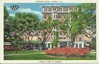 Cawthon Hotel Mobile Alabama Azalea Time 1930s Linen Postcard JH Pippen Manager