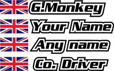 Premium Union Jack  Small Rally Decals Car Name Sticker Graphics 20mm Tall
