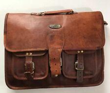 HIC Men's Handmade Original Leather Laptop Messenger Bag Brown