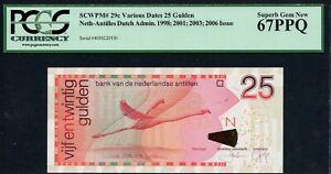 NETHERLANDS ANTILLES P-29c CURACAO 25 GULDEN 01.12.2003 PCGS UNC GEM 67PPQ