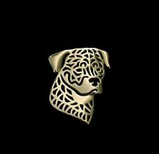Rottweiler Dog Brooch or Pin -Fashion Jewellery Gold Plated, Stud Back